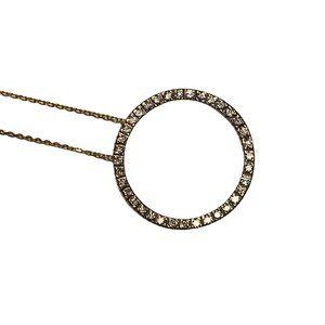 14 Karat Gold Diamond Circle Pendant on 18k Chain